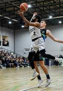 4 January 2020; Paris Ballingar of DBS Eanna in action against Rapolas Buivydas of Garvey's Warriors Tralee during the Basketball Ireland Men's Superleague match between Garveys Warriors Tralee and DBS Eanna at Tralee Sports Complex in Tralee, Kerry. Photo by Brendan Moran/Sportsfile