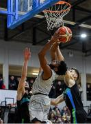 4 January 2020; Joshua Wilson of DBS Eanna in action against Paul Dick and Ivan Bogdanovic of Garvey's Warriors Tralee during the Basketball Ireland Men's Superleague match between Garveys Warriors Tralee and DBS Eanna at Tralee Sports Complex in Tralee, Kerry. Photo by Brendan Moran/Sportsfile