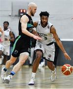 4 January 2020; Joshua Wilson of DBS Eanna in action against Paul Dick of Garvey's Warriors Tralee during the Basketball Ireland Men's Superleague match between Garveys Warriors Tralee and DBS Eanna at Tralee Sports Complex in Tralee, Kerry. Photo by Brendan Moran/Sportsfile