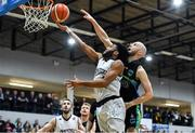 4 January 2020; Joshua Wilson of DBS Eanna goes for a layup ahead of Paul Dick of Garvey's Warriors Tralee during the Basketball Ireland Men's Superleague match between Garveys Warriors Tralee and DBS Eanna at Tralee Sports Complex in Tralee, Kerry. Photo by Brendan Moran/Sportsfile