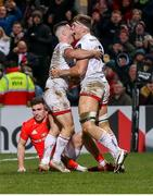 3 January 2020; Matty Rea of Ulster celebrates with John Cooney after scoring his side's third try during the Guinness PRO14 Round 10 match between Ulster and Munster at Kingspan Stadium in Belfast. Photo by John Dickson/Sportsfile