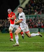 3 January 2020; John Cooney of Ulster on his way to score his side's first try during the Guinness PRO14 Round 10 match between Ulster and Munster at Kingspan Stadium in Belfast. Photo by John Dickson/Sportsfile