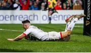 3 January 2020; John Cooney of Ulster scores his side's first try during the Guinness PRO14 Round 10 match between Ulster and Munster at Kingspan Stadium in Belfast. Photo by John Dickson/Sportsfile