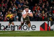3 January 2020; Jacob Stockdale of Ulster scores his side's fifth try during the Guinness PRO14 Round 10 match between Ulster and Munster at Kingspan Stadium in Belfast. Photo by John Dickson/Sportsfile
