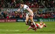 3 January 2020; Jacob Stockdale of Ulster is tackled by Shane Daly of Munster during the Guinness PRO14 Round 10 match between Ulster and Munster at Kingspan Stadium in Belfast. Photo by John Dickson/Sportsfile