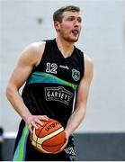 4 January 2020; Daniel Jokubaitis of Garvey's Warriors Tralee during the Basketball Ireland Men's Superleague match between Garveys Warriors Tralee and DBS Eanna at Tralee Sports Complex in Tralee, Kerry. Photo by Brendan Moran/Sportsfile