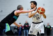 4 January 2020; Marko Tomic of DBS Eanna in action against Kieran Donaghy of Garvey's Warriors Tralee during the Basketball Ireland Men's Superleague match between Garveys Warriors Tralee and DBS Eanna at Tralee Sports Complex in Tralee, Kerry. Photo by Brendan Moran/Sportsfile