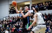 4 January 2020; Kieran Donaghy of Garvey's Warriors Tralee in action against Stefan Zecevic of DBS Eanna during the Basketball Ireland Men's Superleague match between Garveys Warriors Tralee and DBS Eanna at Tralee Sports Complex in Tralee, Kerry. Photo by Brendan Moran/Sportsfile