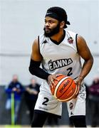 4 January 2020; Paris Ballingar of DBS Eanna during the Basketball Ireland Men's Superleague match between Garveys Warriors Tralee and DBS Eanna at Tralee Sports Complex in Tralee, Kerry. Photo by Brendan Moran/Sportsfile
