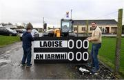 5 January 2020; Laois kitman John Kealy, left, and Borris in Ossory GAA Chairman Mick Delaney prepare the match scoreboard ahead of the 2020 Walsh Cup Round 3 match between Laois and Westmeath at O'Keeffe Park in Borris in Ossory, Laois. Photo by Ramsey Cardy/Sportsfile