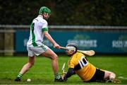 4 January 2020; Phillip Curran of Naomh Éanna in action against Tommy Walsh of Tullaroan during the AIB GAA Hurling All-Ireland Intermediate Club Championship semi-final match between Tullaroan and Naomh Éanna at Parnell Park in Dublin. Photo by Eóin Noonan/Sportsfile