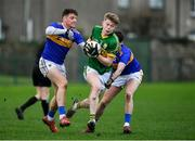 5 January 2020; Darragh Lyne of Kerry in action against Conor Sweeney, left, and Greg Henry of Tipperary during the 2020 McGrath Cup Group B match between Tipperary and Kerry at Clonmel Sportsfield in Clonmel, Tipperary. Photo by Brendan Moran/Sportsfile
