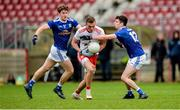 5 January 2020; Conn Kilpatrick of Tyrone in action against Ciaran Brady and Stephen Smith of Cavan during the Bank of Ireland Dr McKenna Cup Round 2 match between Tyrone and Cavan at Healy Park in Omagh, Tyrone. Photo by Oliver McVeigh/Sportsfile