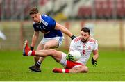 5 January 2020; Kyle Coney of Tyrone in action against Ciaran Brady of Cavan during the Bank of Ireland Dr McKenna Cup Round 2 match between Tyrone and Cavan at Healy Park in Omagh, Tyrone Photo by Oliver McVeigh/Sportsfile