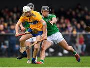 5 January 2020; Jack Browne of Clare in action against Darragh O'Donovan of Limerick during the Co-op Superstores Munster Hurling League 2020 Group A match between Clare and Limerick at O'Garney Park in Sixmilebridge, Clare. Photo by Harry Murphy/Sportsfile