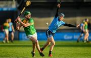 5 January 2020; David English of Carlow in action against Oisín O'Rorke of Dublin during the 2020 Walsh Cup Round 3 match between Dublin and Carlow at Parnell Park in Dublin. Photo by Sam Barnes/Sportsfile