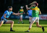 5 January 2020; Alan Corcoran of Carlow in action against Mark Schutte of Dublin during the 2020 Walsh Cup Round 3 match between Dublin and Carlow at Parnell Park in Dublin. Photo by Sam Barnes/Sportsfile