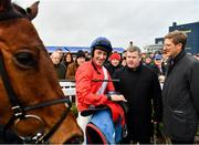5 January 2020; Jockey Davy Russell, left, trainer Gordon Elliott, centre, and representative owner Chris Hitchens in conversation in the winners enclosure after sending out Evoi Allen to win the Lawlor's Of Naas Novice Hurdle at Naas Racecourse in Naas, Co Kildare. Photo by Seb Daly/Sportsfile