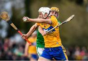 5 January 2020; Jack Browne of Clare in action against Tom Morrissey of Limerick during the Co-op Superstores Munster Hurling League 2020 Group A match between Clare and Limerick at O'Garney Park in Sixmilebridge, Clare. Photo by Harry Murphy/Sportsfile