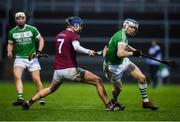 5 January 2020; TJ Reid of Ballyhale Shamrocks in action against Meehaul McGrath of Slaughtneil the AIB GAA Hurling All-Ireland Senior Club Championship semi-final between Ballyhale Shamrocks and Slaughtnell at Pairc Esler in Newry, Co. Down. Photo by David Fitzgerald/Sportsfile