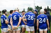 5 January 2020; Laois manager Eddie Brennan speaks to his players at half-time of the 2020 Walsh Cup Round 3 match between Laois and Westmeath at O'Keeffe Park in Borris in Ossory, Laois. Photo by Ramsey Cardy/Sportsfile