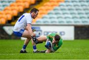 5 January 2020; Eoghan McGettigan of Donegal in action against Padraic Keenan of Monaghan during the Bank of Ireland Dr McKenna Cup Round 2 match between Donegal and Monaghan at Páirc MacCumhaill in Ballybofey, Donegal. Photo by Philip Fitzpatrick/Sportsfile