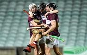 5 January 2020; Borris-Ileigh players, from left, Brendan Maher, Kevin Maher, and Dan McCormack celebrate after the AIB GAA Hurling All-Ireland Senior Club Championship semi-final between St Thomas' and Borris-Ileigh at LIT Gaelic Grounds in Limerick. Photo by Piaras Ó Mídheach/Sportsfile