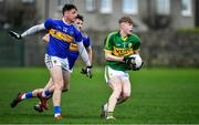 5 January 2020; Darragh Lyne of Kerry in action against Conor Sweeney and Greg Henry of Tipperary during the 2020 McGrath Cup Group B match between Tipperary and Kerry at Clonmel Sportsfield in Clonmel, Tipperary. Photo by Brendan Moran/Sportsfile