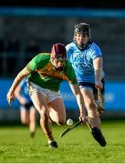 5 January 2020; Alan Corcoran of Carlow in action against Donal Burke of Dublin during the 2020 Walsh Cup Round 3 match between Dublin and Carlow at Parnell Park in Dublin. Photo by Sam Barnes/Sportsfile