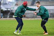 4 January 2020; Niyi Adeolokun, left, and Matt Healy during Connacht Rugby squad training at The Sportsground in Galway. Photo by Sam Barnes/Sportsfile