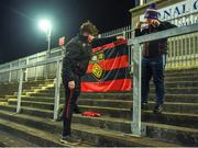 8 January 2020; Down supporters Lewis Lambe and Adam O'Gorman, from Newry, put their flag up ahead of the Bank of Ireland Dr McKenna Cup Round 3 match between Down and Antrim at Pairc Esler in Newry, Down. Photo by Philip Fitzpatrick/Sportsfile