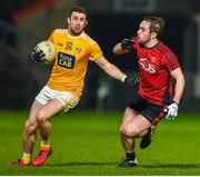 8 January 2020; Conor Murray of Antrim in action against Ryan McAleenan of Down during the Bank of Ireland Dr McKenna Cup Round 3 match between Down and Antrim at Páirc Esler in Newry, Down. Photo by Philip Fitzpatrick/Sportsfile