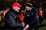 8 January 2020; Tyrone manager Mickey Harte, left, and Armagh manager Kieran McGeeney shake hands after the Bank of Ireland Dr McKenna Cup Round 3 match between Armagh and Tyrone at Athletic Grounds in Armagh. Photo by Piaras Ó Mídheach/Sportsfile