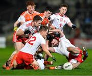 8 January 2020; Tyrone players, from left, Niall Sludden, Kieran McGeary, Liam Rafferty, and Kyle Coney in action against Armagh players Jason Duffy, 15, and Conor O'Neill, centre, during the Bank of Ireland Dr McKenna Cup Round 3 match between Armagh and Tyrone at Athletic Grounds in Armagh. Photo by Piaras Ó Mídheach/Sportsfile