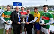 9 January 2020; In attendance at the Allianz Football League 2020 launch in Dublin are, from left, Stephen O'Brien of Kerry, Uachtarán Chumann Lúthchleas Gael John Horan, Mark Collins of Cork, Sean McGrath, CEO, Allianz Ireland, Conor Cox of Roscommon and Diarmuid O'Connor of Mayo. 2020 marks the 28th year of Allianz' partnership with the GAA as sponsors of the Allianz Leagues. Photo by Brendan Moran/Sportsfile