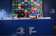 10 January 2020; Head coach Leo Cullen, right, and Scott Fardy during a Leinster Rugby press conference at Leinster Rugby Headquarters in UCD, Dublin. Photo by Harry Murphy/Sportsfile