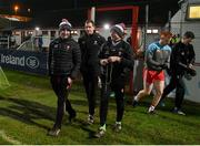 8 January 2020; Derry Manager Rory Gallagher, left, with Enda Muldoon, assistant Manager, centre, and Ciaran Meenagh, selector, before the Bank of Ireland Dr McKenna Cup Round 3 match between Derry and Donegal at Celtic Park in Derry. Photo by Oliver McVeigh/Sportsfile