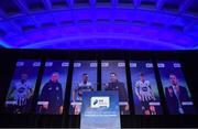10 January 2020; A general view of the stage prior to the SSE Airtricity/SWAI Diamond Jubilee Personality of the Year Awards 2019 at the Clayton Hotel in Dublin. Photo by Seb Daly/Sportsfile