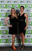 10 January 2020; Michelle O'Neill, right, and Fiona Dempsey arrive ahead of the SSE Airtricity / Soccer Writers Association of Ireland Diamond Jubilee Personality of the Year Awards 2019 at the Clayton Hotel in Dublin. Photo by Seb Daly/Sportsfile