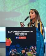 10 January 2020; Cork ladies footballer Orlagh Farmer speaking at The GAA Games Development Conference, in partnership with Sky Sports, which took place in Croke Park on Friday and Saturday. A record attendance of over 800 delegates were present to see over 30 speakers from the world of Gaelic games, sport and education. Photo by Piaras Ó Mídheach/Sportsfile