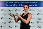 10 January 2020; Michelle O'Neill with her Liam Tuohy Special Merit award during the SSE Airtricity / Soccer Writers Association of Ireland Diamond Jubilee Personality of the Year Awards 2019 at the Clayton Hotel in Dublin. Photo by Seb Daly/Sportsfile
