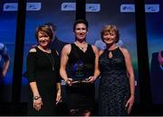 10 January 2020; Michelle O'Neill is presented with her Liam Tuohy Special Merit award by Geradine O'Sullivan, left, and Patricia Craddock, daughters of Liam Tuohy, during the SSE Airtricity / Soccer Writers Association of Ireland Diamond Jubilee Personality of the Year Awards 2019 at the Clayton Hotel in Dublin. Photo by Seb Daly/Sportsfile