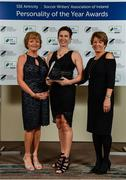 10 January 2020; Michelle O'Neill with her Liam Tuohy Special Merit award, is joined by Patricia Craddock, left, and Geradine O'Sullivan,  daughters of Liam Tuohy, during the SSE Airtricity / Soccer Writers Association of Ireland Diamond Jubilee Personality of the Year Awards 2019 at the Clayton Hotel in Dublin. Photo by Seb Daly/Sportsfile