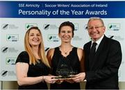 10 January 2020; Michelle O'Neill, centre, is joined by Fiona Dempsey, left, and Tony O'Donoghue, SWAI Vice President, after winning the Liam Tuohy Special Merit award during the SSE Airtricity / Soccer Writers Association of Ireland Diamond Jubilee Personality of the Year Awards 2019 at the Clayton Hotel in Dublin. Photo by Seb Daly/Sportsfile