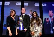 10 January 2020; Dundalk manager Vinny Perth is presented with his Dan McCaffrey Personality of the Year award by Leanne Shiel, Marketing & Sponsorship Manager at SSE Airtricity, and Janet Smith, granddaughter of Dan McCaffrey, during the SSE Airtricity / Soccer Writers Association of Ireland Diamond Jubilee Personality of the Year Awards 2019 at the Clayton Hotel in Dublin. Photo by Seb Daly/Sportsfile