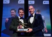 10 January 2020; Gary Rogers, right, of Dundalk is presented with the Goalkeeper of the Year award by Alan O'Neill during the SSE Airtricity / Soccer Writers Association of Ireland Diamond Jubilee Personality of the Year Awards 2019 at the Clayton Hotel in Dublin. Photo by Seb Daly/Sportsfile