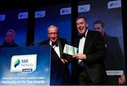 10 January 2020; Former Republic of Ireland International Packie Bonner, right, is congratulated by with Charlie Stuart after receiving his International Achievement Award during the SSE Airtricity / Soccer Writers Association of Ireland Diamond Jubilee Personality of the Year Awards 2019 at the Clayton Hotel in Dublin. Photo by Seb Daly/Sportsfile
