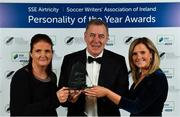 10 January 2020; Former Republic of Ireland International Packie Bonner is presented with his International Achievement Award by Aine Plunkett and Leanne Shiel, SSE Airtricity, during the SSE Airtricity / Soccer Writers Association of Ireland Diamond Jubilee Personality of the Year Awards 2019 at the Clayton Hotel in Dublin. Photo by Seb Daly/Sportsfile