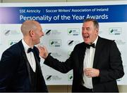 10 January 2020; Goalkeeper of the Year Gary Rogers, left, and International Achievement Award winner Packie Bonner during the SSE Airtricity / Soccer Writers Association of Ireland Diamond Jubilee Personality of the Year Awards 2019 at the Clayton Hotel in Dublin. Photo by Seb Daly/Sportsfile