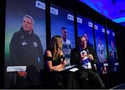 10 January 2020; Former Republic of Ireland International Packie Bonner in conversation with MC Marie Crowe after being presented with his International Achievement Award during the SSE Airtricity / Soccer Writers Association of Ireland Diamond Jubilee Personality of the Year Awards 2019 at the Clayton Hotel in Dublin. Photo by Seb Daly/Sportsfile
